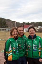 Skitrenerene Margrete, David og Marit